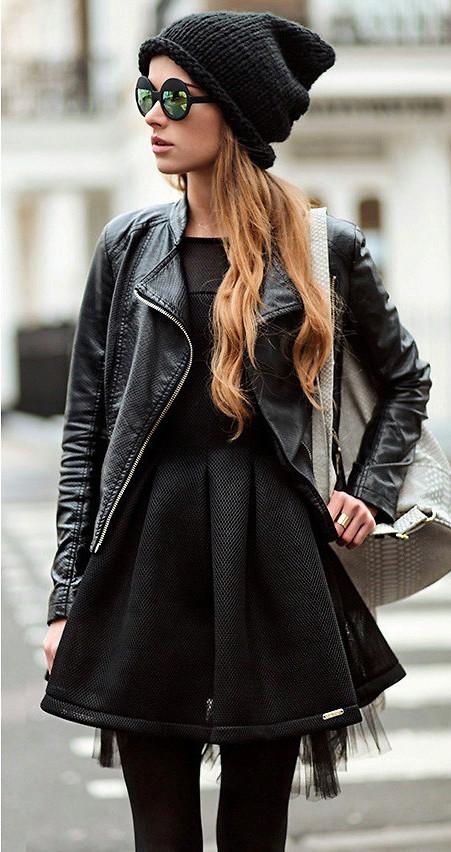 street look jupe patineuse noire courte look
