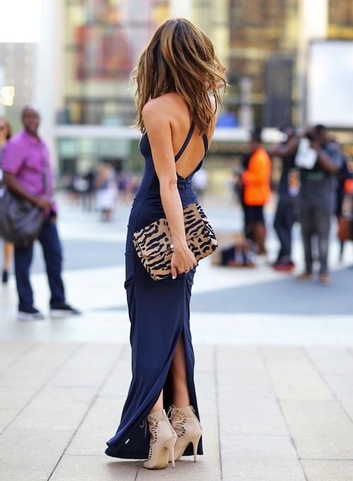 robe longue dos nu bleu dos croisé