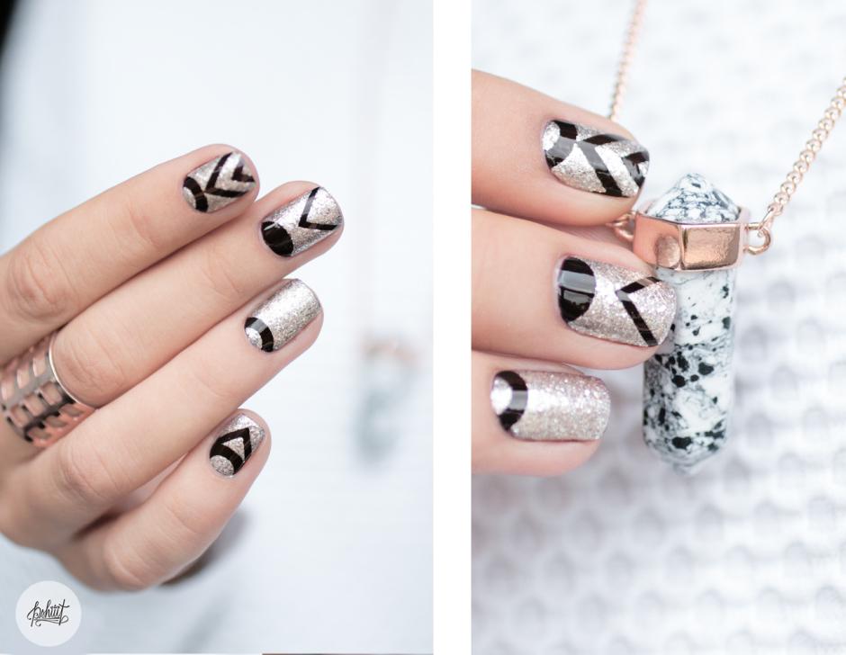 nail art graphique et métallique