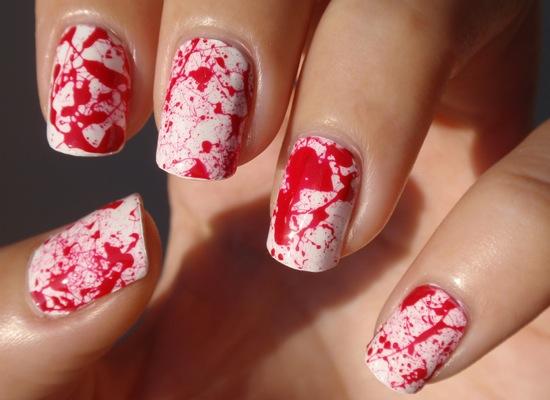 nail art éclaboussure sang