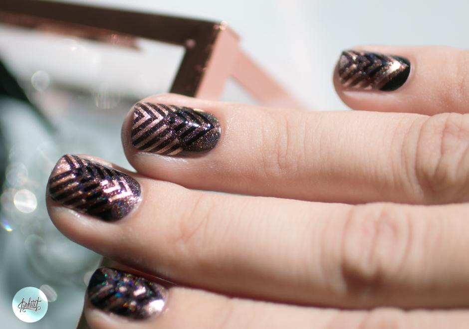 rose gold et chevrons nail art