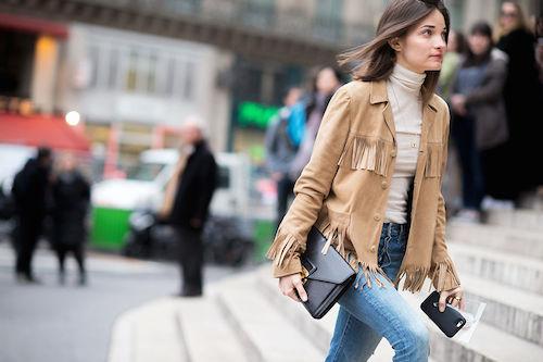 street style vestes en daim vace franges