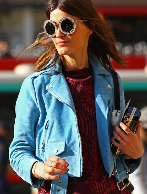street style veste en daim bleue