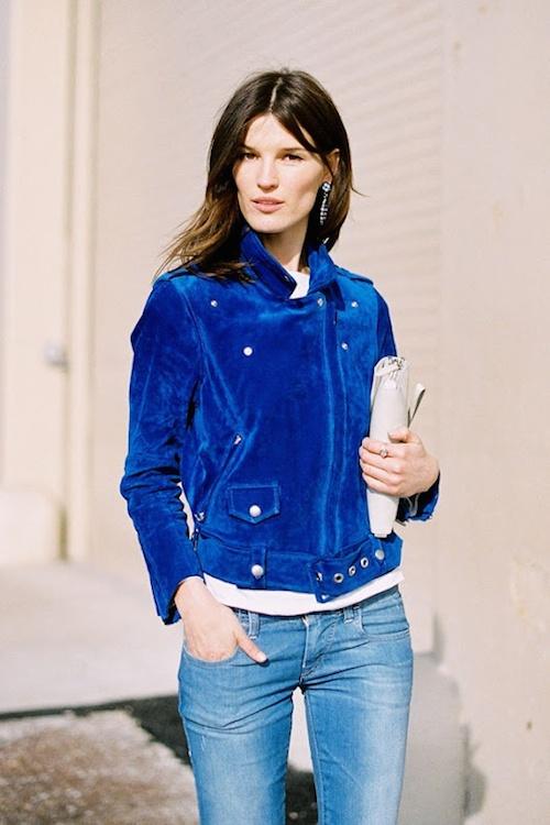 street style bleue jacket suede