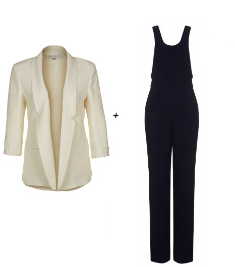 Pour essayer le look de Jessica Alba :  French Connection - Blazer Connie (120 €)  Topshop - Combi-pantalon Chic City Love (78 €)