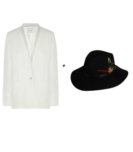 Pour essayer le look de Kate Hudson :  Maje - Blazer en toile (345 €)  Asos - Panama en feutrine (23 €)