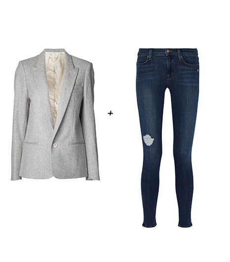 Pour essayer le look de Keri Russell :  Vanessa Bruno - Blazer un bouton (350 €)  J Brand - Jean620 super skinny (250 €)