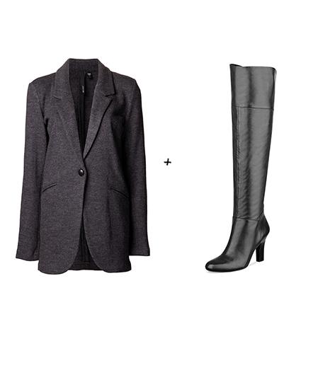 Pour essayer le look de Lily Aldridge :  Joe\'s jeans - Blazer Meredith (150 €)  Guess - Cuissardes (92 €)