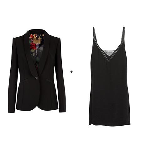 Pour essayer le look de Taylor Swift :  Ted Baker London - Blazer Eglan (305 €)  Maje - Robe en satin brossé (150 €)