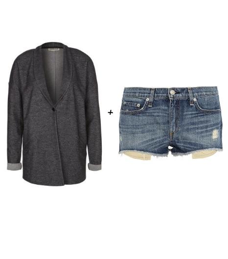 Pour essayer le look d\'Alexa :  Noisy May- Blazer gris Margo (34 €)  Rag & Bone - Shorten jean effet vieilli Mila (145 €)