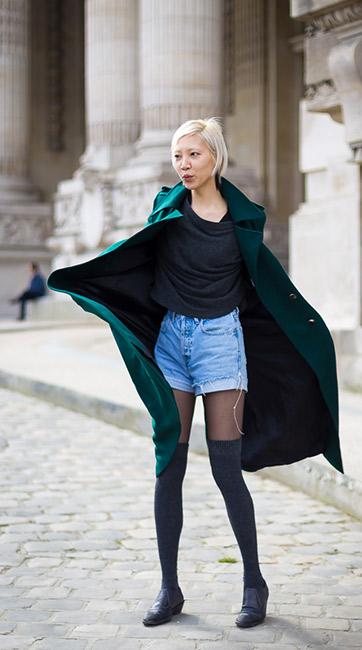 Si les collants ne vous tiennent pas assez chaud, les combiner avec des chaussettes hautes remédiera parfaitement au problème. crédit photo : Soo Joo