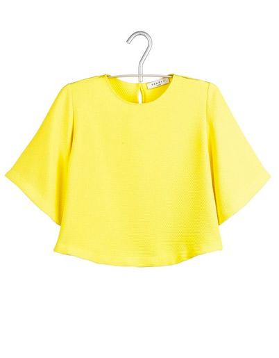 Sandro - Top gaufré jaune (125 €)