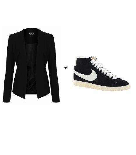 Pour essayer le look de Charlize Theron :  Topshop - Blazer noir (64 €)  Nike - Baskets modèle Blazerdaim noir (73,80 €)