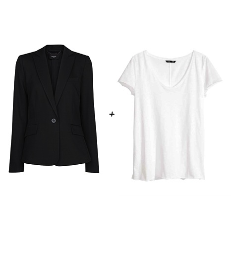 Pour essayer le look d\'Arizona Muse :  Mango - Veste noire en crêpe (39,99 €)  H&M - Top en Jersey (9,95 €)