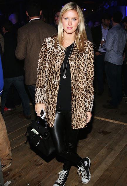 Nicky Hilton leopard coat