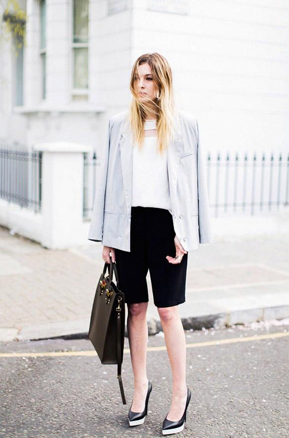 Règle importante : Si vous portezune bermuda pour aller au bureau, assurez-vous que tous les autres éléments de votre look fassent très \