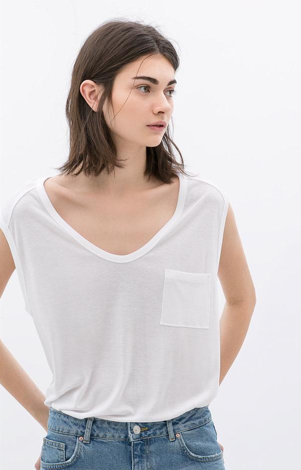 Zara - T-shirt ample à poche (19,99 €)